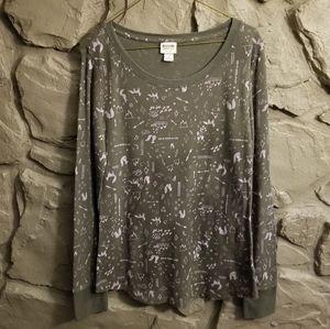 Mossimo Thermal Shirt Fox Boho Nature Waffle Knit